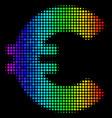 rainbow colored pixel euro icon vector image