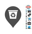 recycle bin marker icon with free bonus vector image vector image