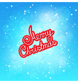 Red Text Merry Christmas on Winter Background vector image
