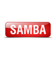 samba red square 3d realistic isolated web button vector image vector image