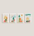 scandinavian pine tree winter frame collection vector image