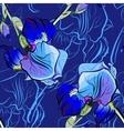 Seamless pattern of blue irises vector image