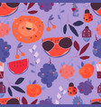 seamless pattern with cartoon fruits animals and vector image vector image