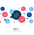 seo trendy circle template with simple icons vector image vector image