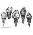 set hand drawn black and white ice cream vector image