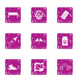 severe preparation icons set grunge style vector image