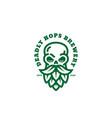 skull hops logo vector image vector image