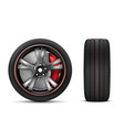 sport car wheel with red brake gear vector image vector image