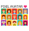 square pixel avatars vector image