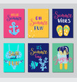 summer lettering card hand drawn gift tags vector image