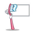 thumbs up with board toothbrush character cartoon vector image vector image