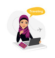 travel agency banner arab woman works in office vector image vector image