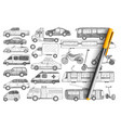 types vehicles doodle set vector image vector image