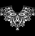 vintage floral black and white neckline pattern vector image