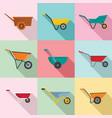 wheelbarrow garden plant icons set flat style vector image vector image