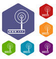wifi router icons set hexagon vector image vector image