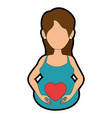 woman pregnant with heart vector image vector image
