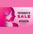 womens day sale design with beautiful woman face vector image