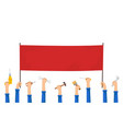workers are holding a red blank banner vector image vector image