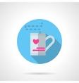 Valentines tea round flat icon vector image