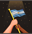 argentina national flag on hand symbol vector image vector image