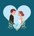 beautiful bride and groom in heart love wedding vector image