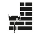 black and white paint roller on brick wall vector image vector image