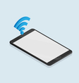 black tablet isometric with wireless icon vector image vector image