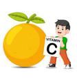 boy beside orange is holding board vector image vector image