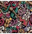 Cartoon hand drawn doodles Music seamless pattern vector image vector image