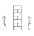 cartoon of man and woman divided by high wall vector image vector image