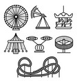 cartoon silhouette black amusement park icon set vector image