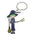 cartoon witch casting spell with thought bubble vector image vector image