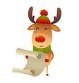 christmas cute reindeer standing behind blank vector image vector image