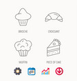 croissant brioche and piece of cake icons vector image vector image