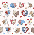 cute animal hug hearts seamless repeat vector image