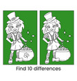cute cartoon irish leprechaun girl vector image