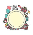 doodle circle emblem with carnival entertainment vector image vector image
