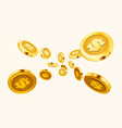 falling coins falling money flying gold coins vector image vector image