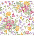 floral ornamental white seamless pattern flower vector image