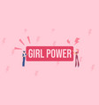girl power poster feminism symbol with red symbol vector image vector image