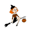 halloween flying girl on broomstick vector image