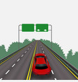 high-speed highway in perspective red car vector image vector image
