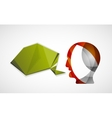 Human head with origami blank speech bubble vector image vector image