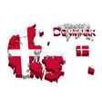 kongeriget denmark 3d flag and map vector image