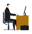 manager working on computer businessman sitting vector image vector image