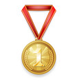 medal gold award sport 1st place red ribbon vector image