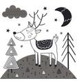 monochrome deer in scandinavian style vector image vector image