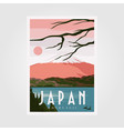mount fuji background poster japanese vintage vector image