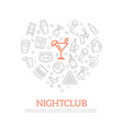 night club thin line icons in heart shape vector image vector image